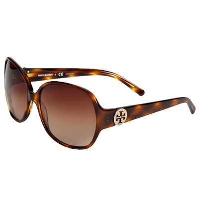 Tory Burch 'Disco Logo' Rounded Sunglasses